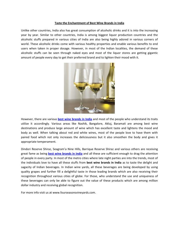 Taste the Enchantment of Best Wine Brands in India