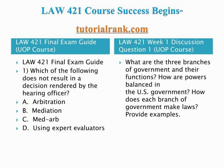 law 421 week 5 final exam