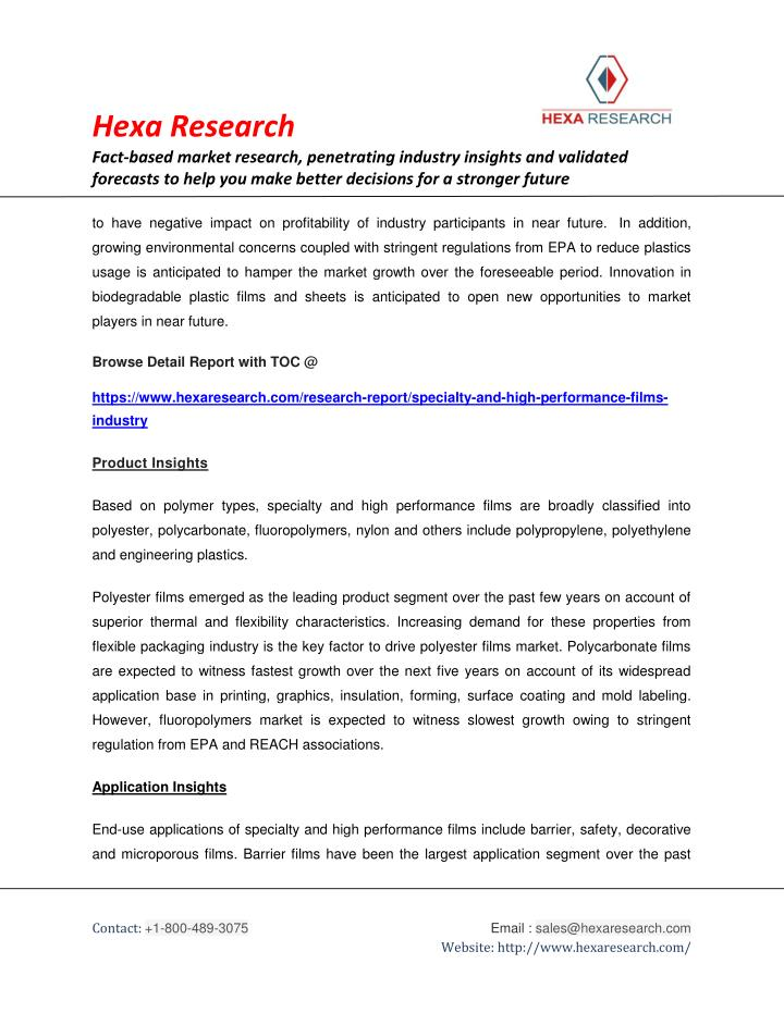 global specialty and high performance films 12114 high-performance thermoplastics  songwon and heraeus collaborate to develop high end specialty chemicals  global specialty films market analysis.