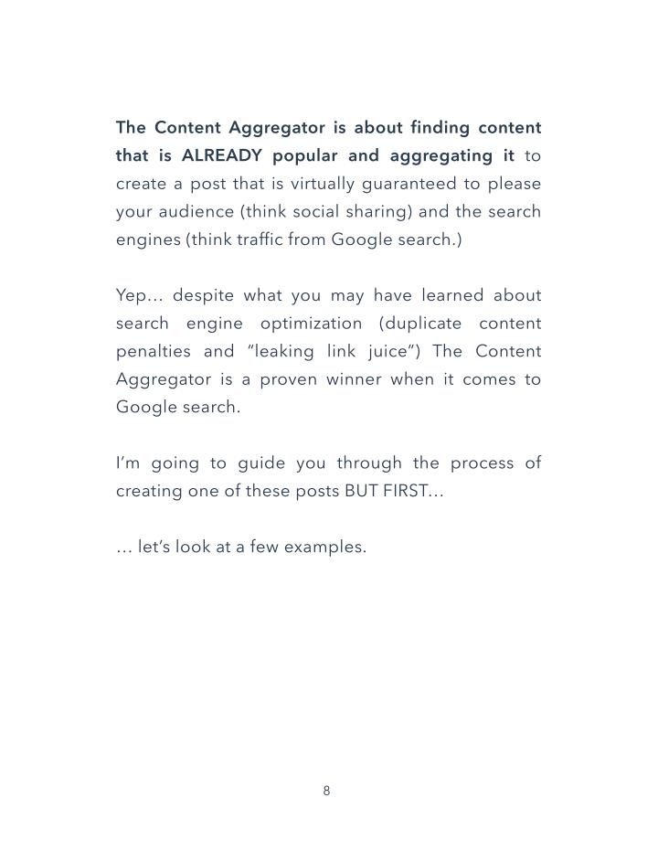The Content Aggregator is about finding content