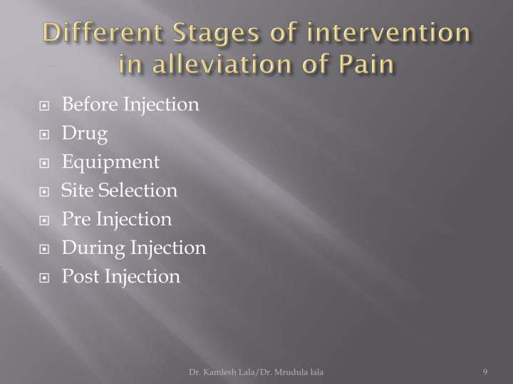 Different Stages of intervention in alleviation of Pain