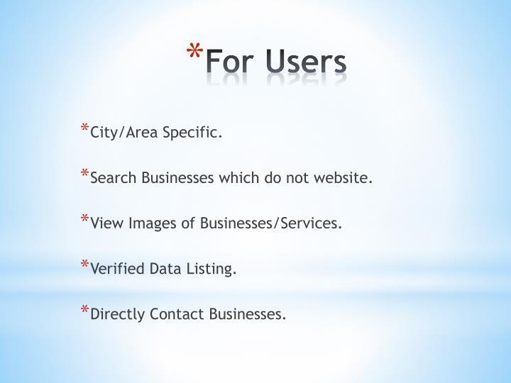 City/Area Specific.