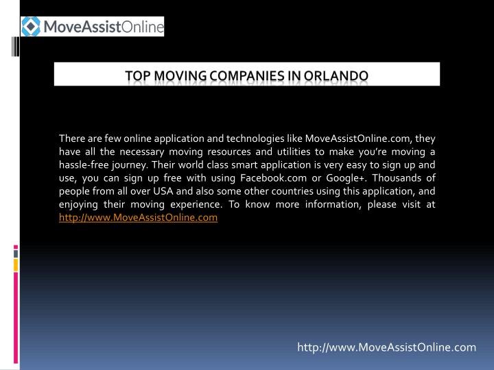 There are few online application and technologies like MoveAssistOnline.com, they have all the necessary moving resources and utilities to make you're moving a hassle-free journey. Their world class smart application is very easy to sign up and use, you can sign up free with using Facebook.com or Google+. Thousands of people from all over USA and also some other countries using this application, and enjoying their moving experience. To know more information, please visit at