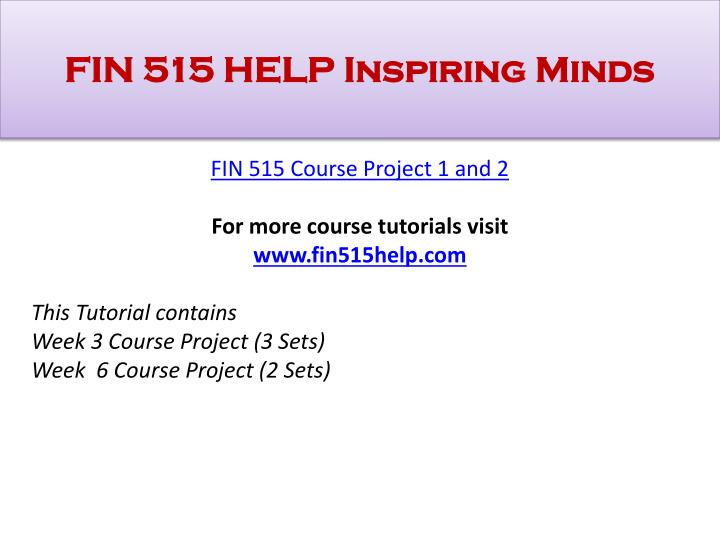 fin515 second course project