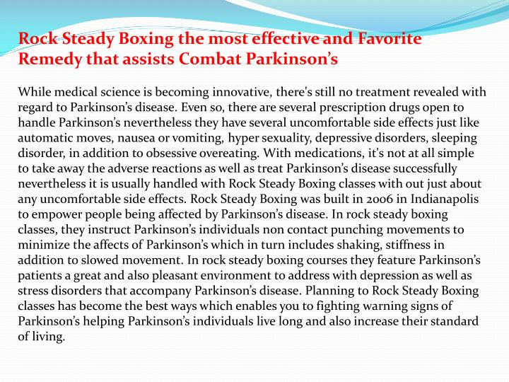 Rock Steady Boxing the most effective and Favorite Remedy that assists Combat Parkinson's