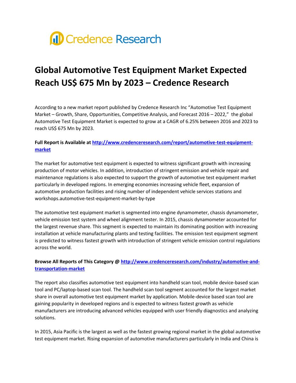 PPT - Global Automotive Test Equipment Market Expected Reach
