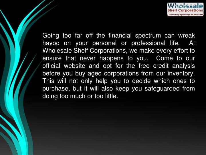 Going too far off the financial spectrum can wreak havoc on your personal or professional life.  At Wholesale Shelf Corporations, we make every effort to ensure that never happens to you.  Come to our official website and opt for the free credit analysis before you buy aged corporations from our inventory.  This will not only help you to decide which ones to purchase, but it will also keep you safeguarded from doing too much or too little.