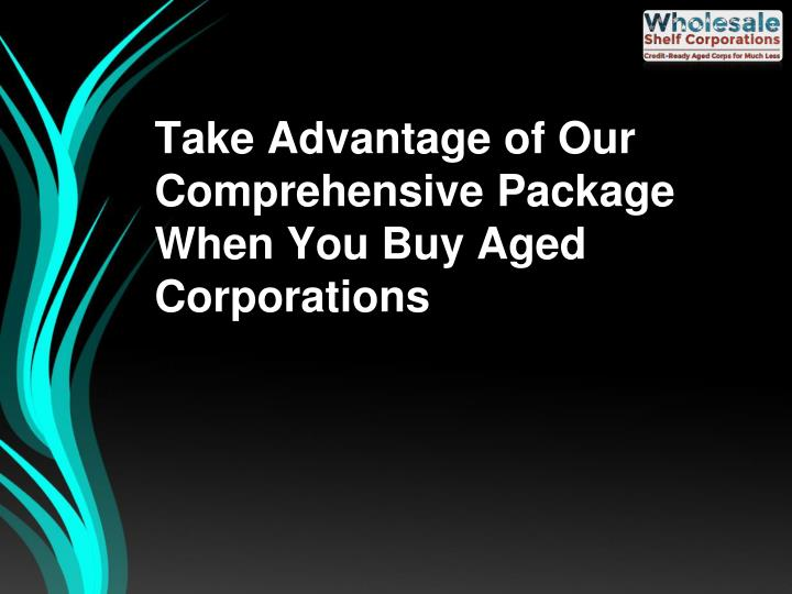 Take Advantage of Our Comprehensive Package When You Buy Aged Corporations