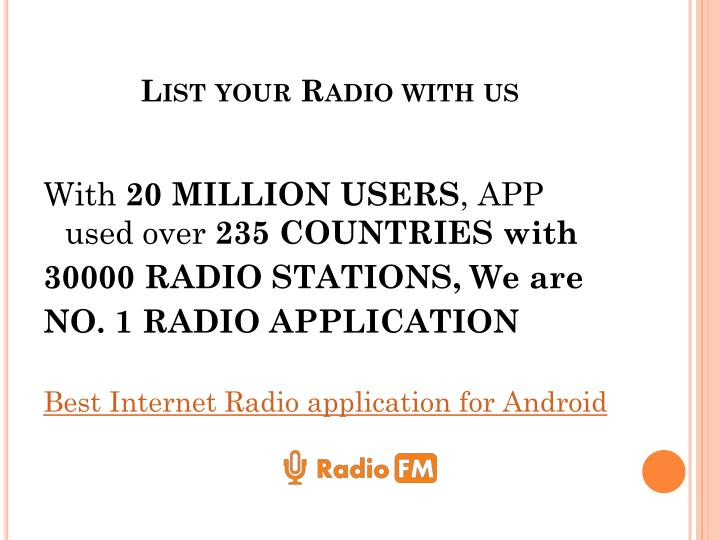 List your Radio with us