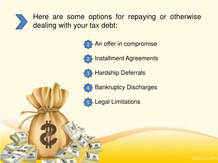 Here are some options for repaying or otherwise dealing with your tax debt: