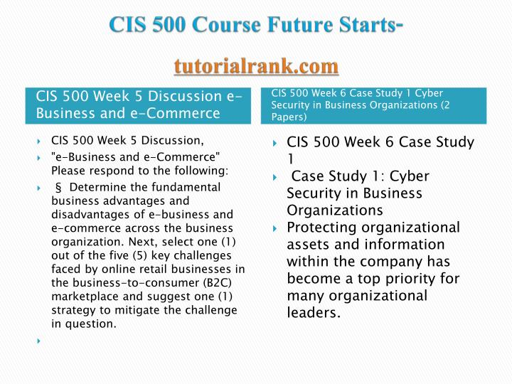 cis 500 week 6 case study 1 cyber Cis 500 week 6 case study 1 cyber security in business organizations (2 papers) $1000  no rating purchased: 3 time add to cart cis 500 week 8 case study 2 wireless.