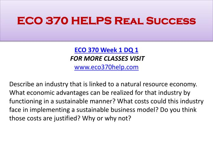 Eco 370 helps real success1