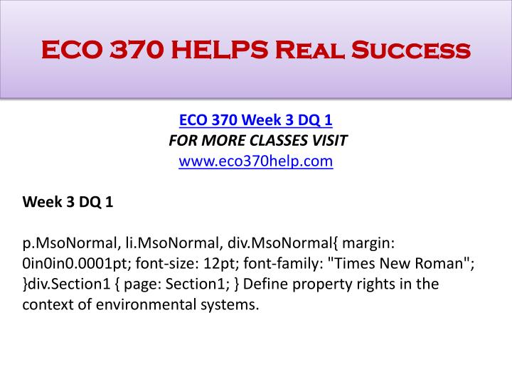 ECO 370 HELPS Real Success