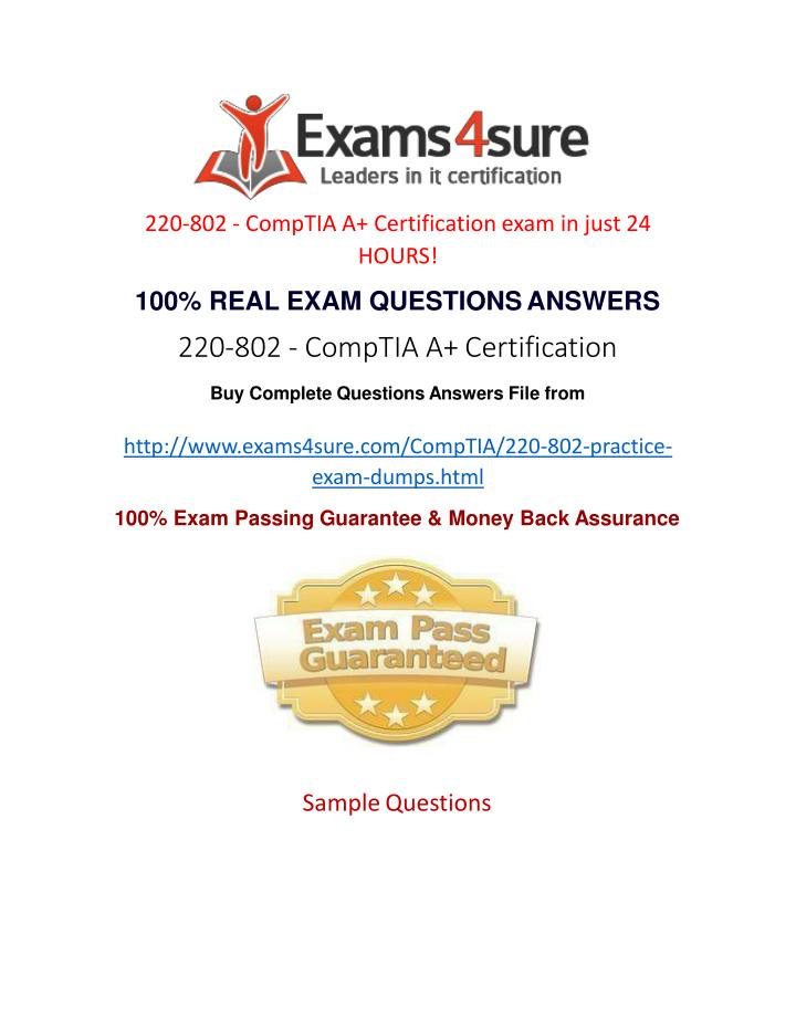 220-802 - CompTIA A+ Certification exam in just 24  HOURS!