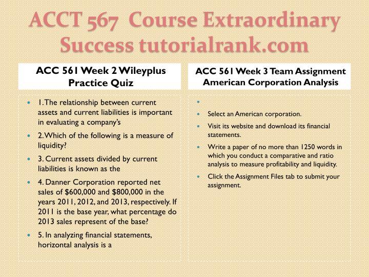 ACC 561 Week 2 Wileyplus Practice Quiz