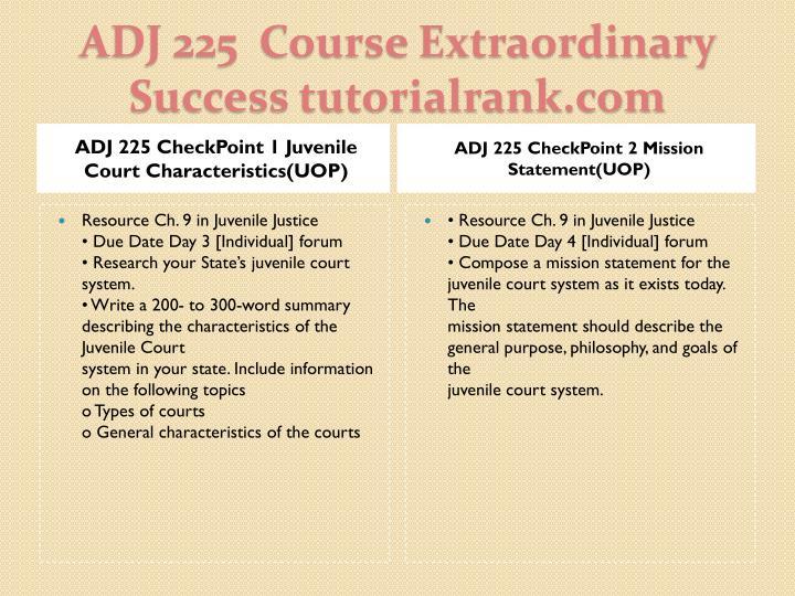 ADJ 225 CheckPoint 1 Juvenile Court Characteristics(UOP)