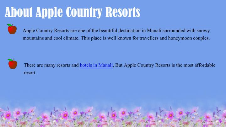 About Apple Country Resorts