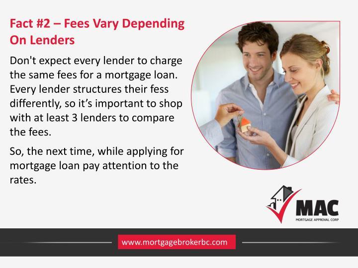 Fact #2 – Fees Vary Depending On Lenders