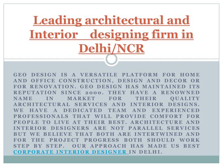 leading architectural and interior designing firm in delhi ncr n.
