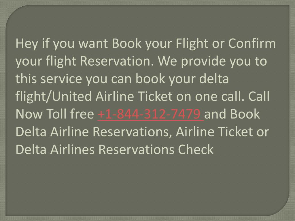 Ppt Call Toll Free 1 844 312 7479 Delta Airline