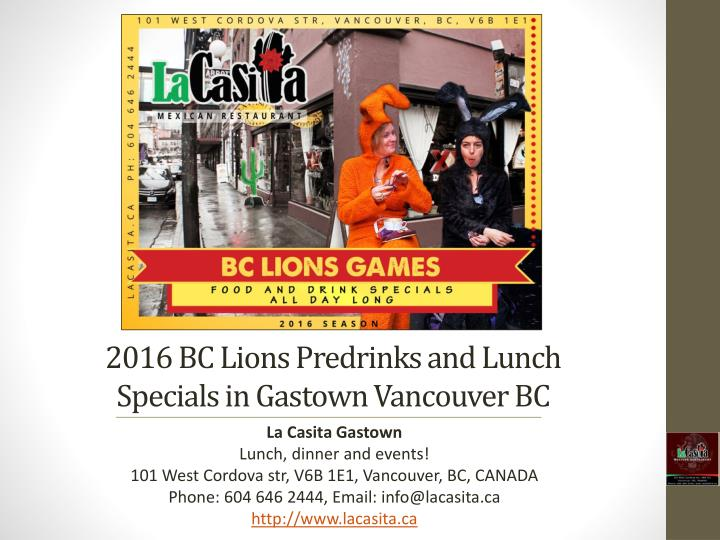 2016 bc lions predrinks and lunch specials in gastown vancouver bc n.