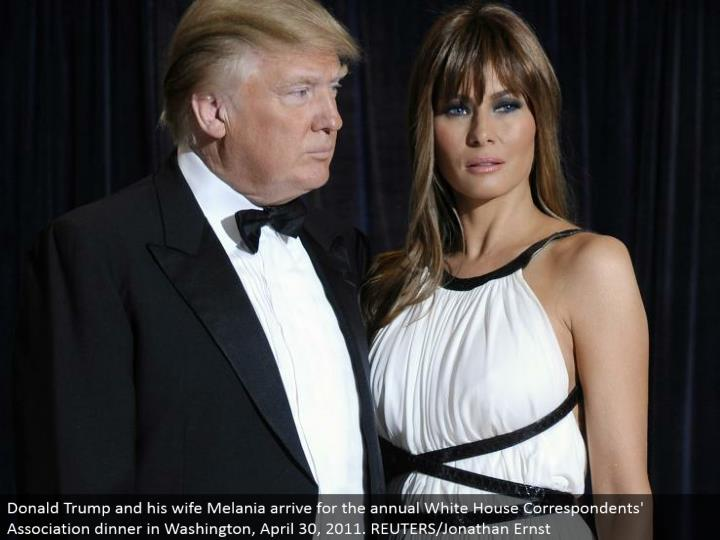 Donald Trump and his better half Melania touch base for the yearly White House Correspondents' Association supper in Washington, April 30, 2011. REUTERS/Jonathan Ernst