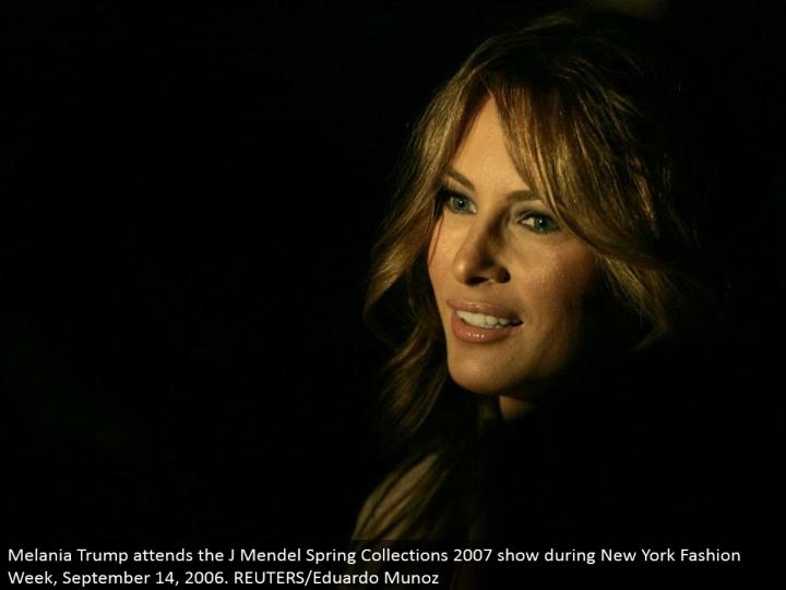 Melania Trump goes to the J Mendel Spring Collections 2007 show amid New York Fashion Week, September 14, 2006. REUTERS/Eduardo Munoz