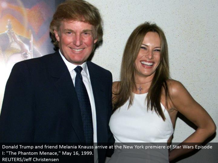 "Donald Trump and companion Melania Knauss touch base at the New York debut of Star Wars Episode I: ""..."
