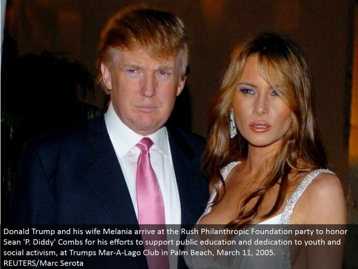 Donald Trump and his significant other Melania touch base at the Rush Philanthropic Foundation gathering to respect Sean 'P. Diddy' Combs for his endeavors to bolster government funded training and commitment to youth and social activism, at Trumps Mar-A-Lago Club in Palm Beach, March 11, 2005.  REUTERS/Marc Serota