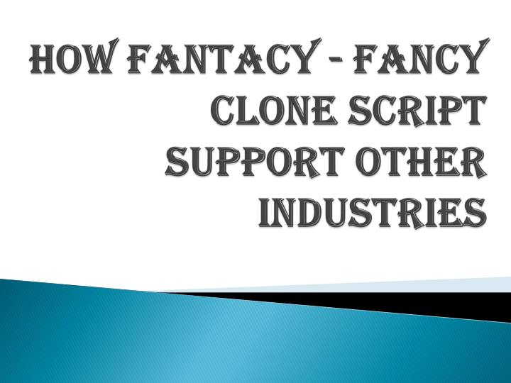 how fantacy fancy clone script support other industries n.