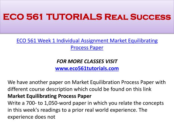 market equilibration paper This paper seeks to explore the concepts of market equilibration process with more emphasis on demand, supply, and equilibrium (fama, 1970) i will establish the relationship between market equilibration processes and a real world experience that occurs frequently in the market.