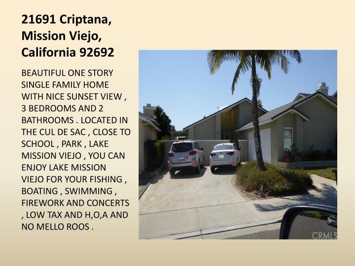 21691 Criptana, Mission Viejo, California 92692