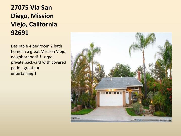 27075 Via San Diego, Mission Viejo, California 92691