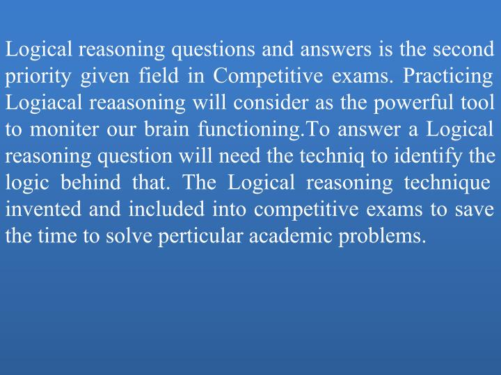 logical reasoning questions with answers