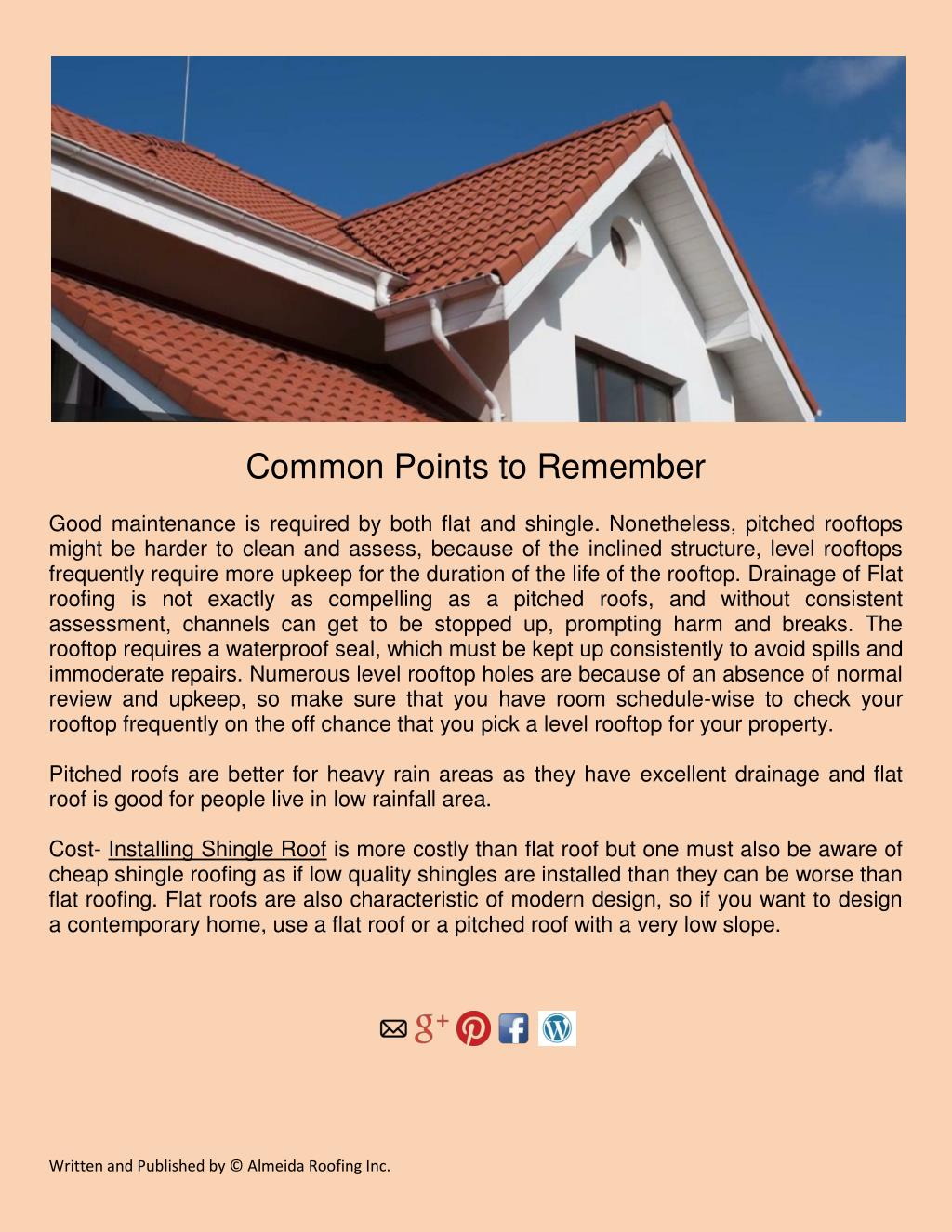 Ppt Difference Between Flat Roof And Shingle Roof