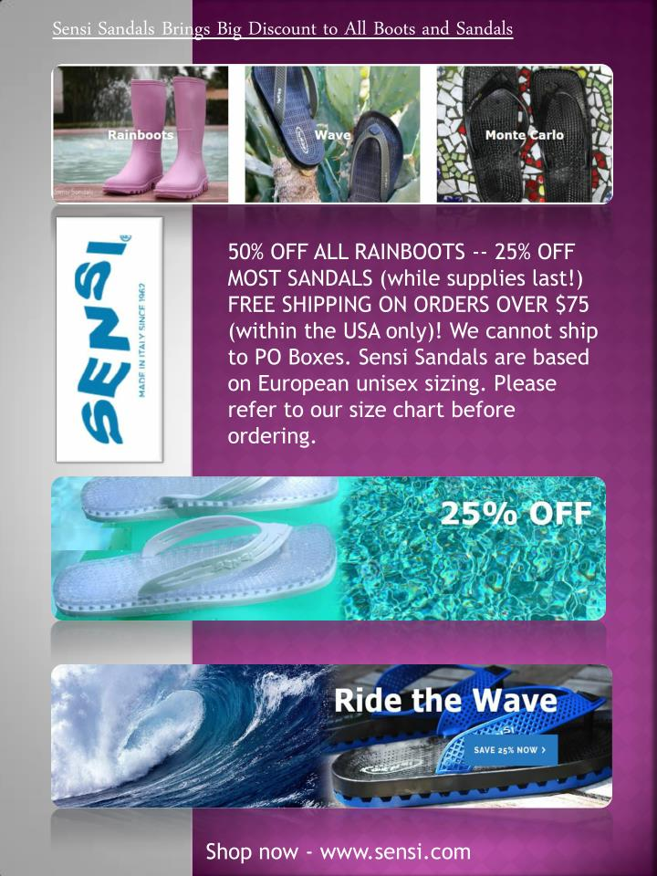 768e23114d1f PPT - Sensi Sandals Brings Big Discount to All Boots and Spa Sandals ...