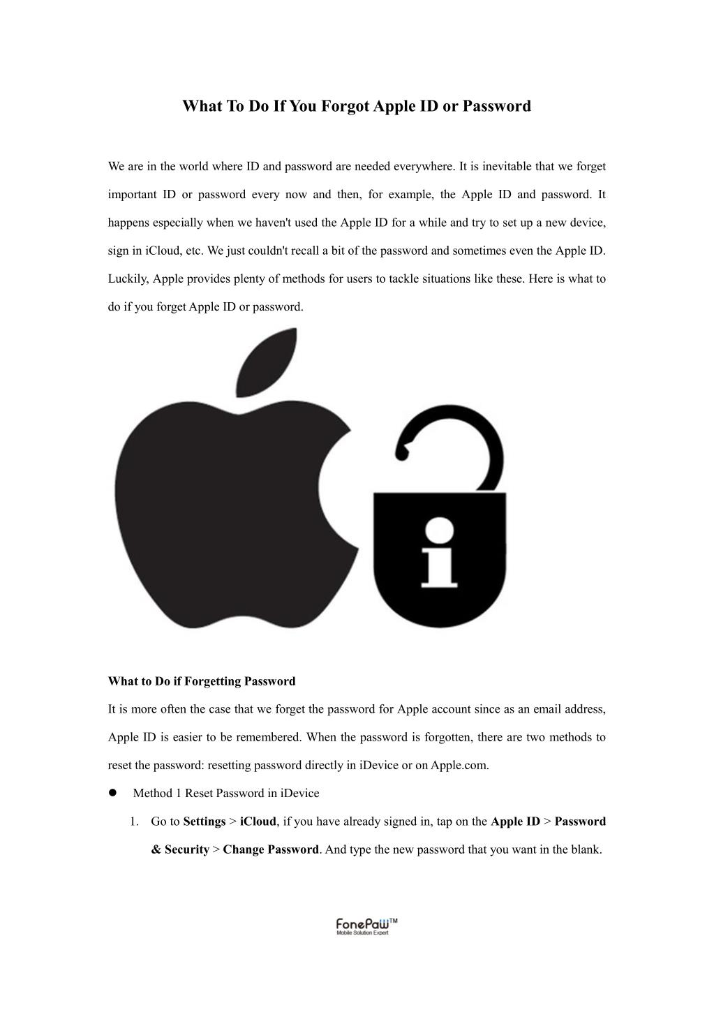PPT - What To Do If You Forgot Apple ID or Password