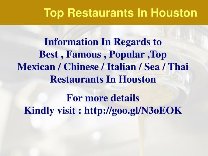 Top Restaurants In Houston