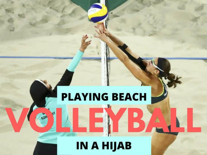 playing shoreline volleyball in a hijab n.