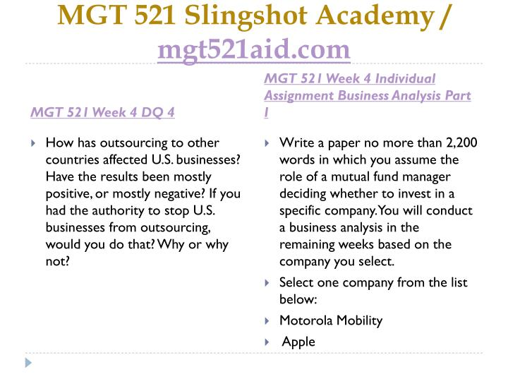 mgt 521 business analysis part Mgt 521 week 1 management theories and the workplace mgt 521 week 3 organizational planning part 1 conduct a swot analysis on the selected company part.