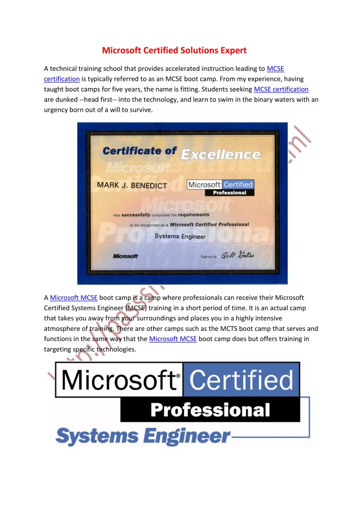 Ppt Microsoft Certified Solutions Expert Powerpoint Presentation