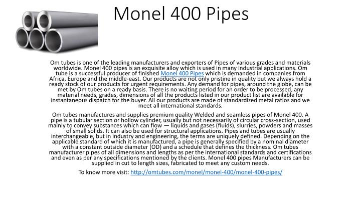monel 400 pipes n.