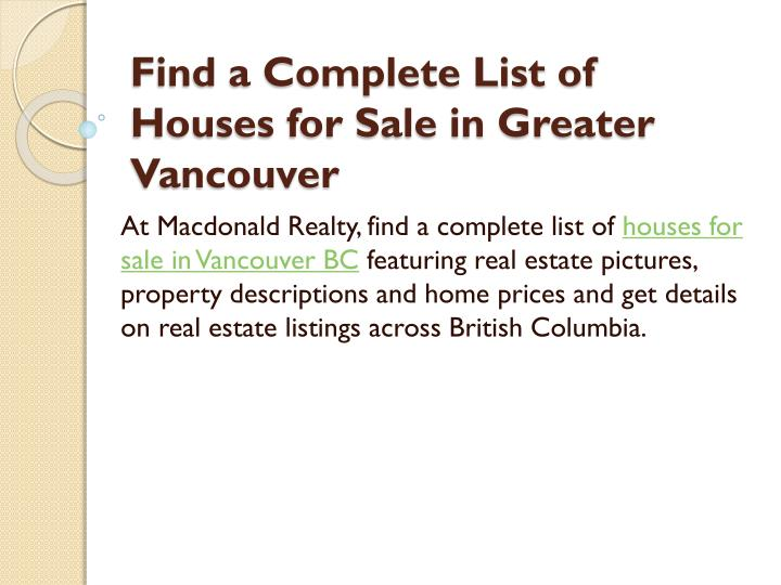 find a complete list of houses for sale in greater vancouver n.