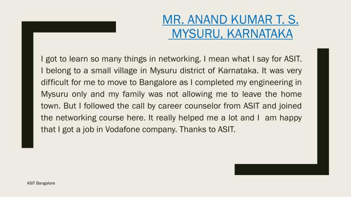 Mr. Anand Kumar T. S.