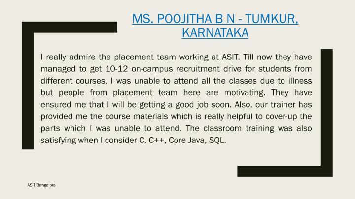 Ms poojitha b n tumkur karnataka