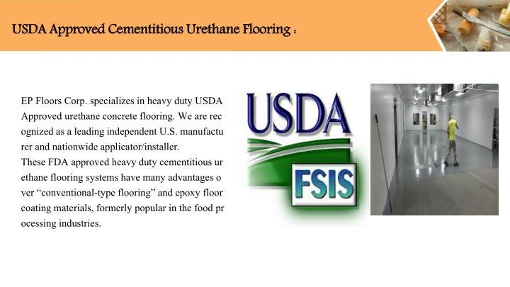 Usda approved cementitious urethane flooring