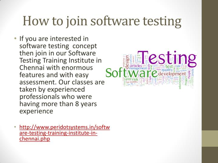 How to join software testing