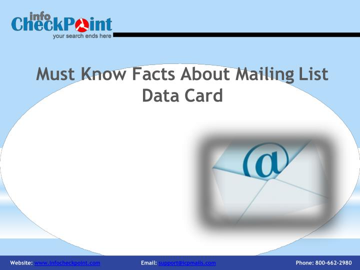 Must know facts about mailing list data card