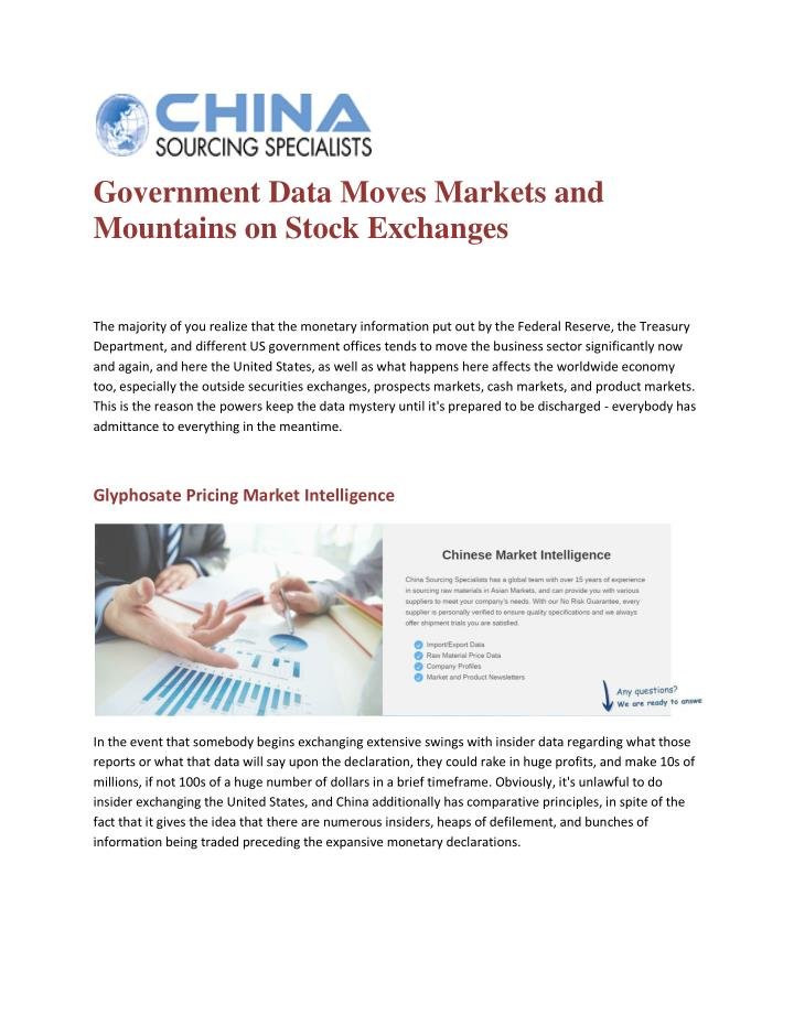 Government Data Moves Markets and
