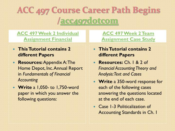 ACC 497 Week 2 Individual Assignment Financial